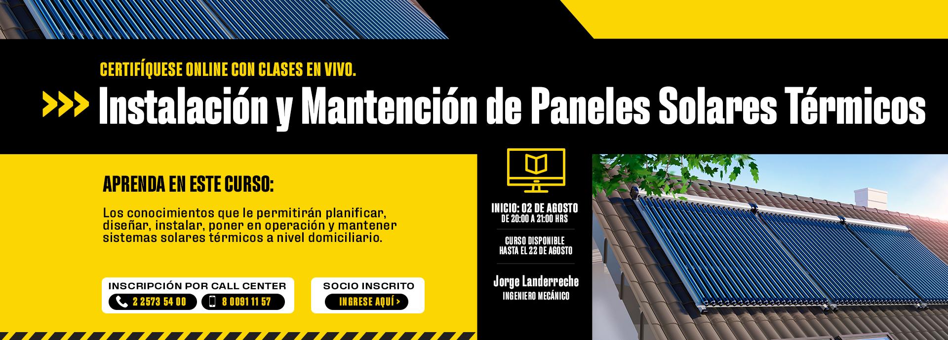 Banner Curso de Panel Solar Térmico